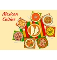 Colorful festive dishes of mexican cuisine symbol vector image