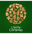 Merry Christmas symbol of gingerbread cookies vector image