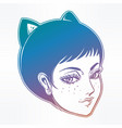 anime or retro manga style woman with cat ears vector image