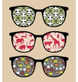 Retro sunglasses with reflection vector image