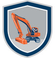 Mechanical Digger Excavator Retro Shield vector image vector image