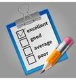 Orange pencil and blue checklist vector image vector image
