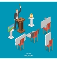 Online auction isometric flat concept vector image vector image