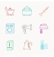 Washing machine teapot and blender icons vector image