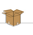 cardboard box continuous line vector image