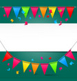 Green Background with Colorful Party Flags and vector image