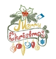 Hand Drawn Merry Christmas Decoration Of vector image