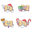 set of open book character with santa candy judge vector image