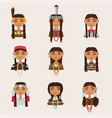 set with american indian women portraits various vector image