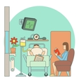 Sick man lies in hospital ward concept flat style vector image