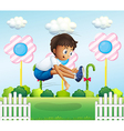 A boy jumping near the fence vector image