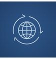 Globe with arrows line icon vector image