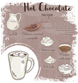 hand drawn of hot chocolate recipe with list of vector image