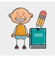 boy student book pencil vector image