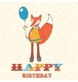 Colorful happy birthday card with cute fox girl vector image