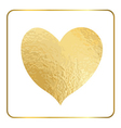 Gold heart hand draw foil 1 vector image