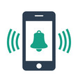 smartphone call with bell on white background vector image