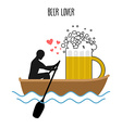 Beer lover Man and beer mugs and ride in boat vector image