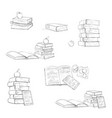 beautiful educational books on in black and white vector image