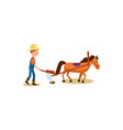 farmer and horse plowing isolated icon vector image