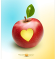 red apple with carved heart vector image