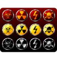 steel shields with warning symbols vector image