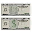 Hundred dollar bank notes vector image