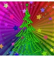 Christmas Tree on Rainbow Background vector image vector image
