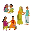 Brother and sister of all ages celebrate Raksha vector image