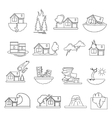Disaster Damage Line Icon Set vector image