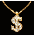 Dollar sign with diamonds on gold chain Hip-hop vector image