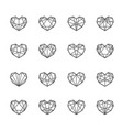 geometric polygon hearts vector image