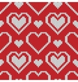 Seamless knitted sweater pattern with hearts vector image