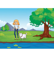 A woman with a dog walking along the river vector image vector image