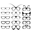 set of glasses frame in fancy style vector image