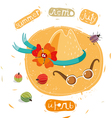summer hat and sunglasses vector image vector image