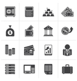 Black Bank and Finance Icons vector image
