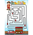 Maze game with fire fighter and station vector image vector image