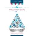 Sea summer travel banner invitation design with vector image