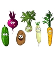 Cartoon fresh funny vegetables vector image