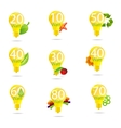 eco bulb symbols set isolated yellow color vector image