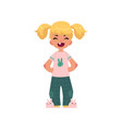 flat cartoon girl kid in funny clothing vector image
