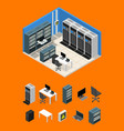 interior server room and parts isometric view vector image