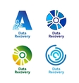 Set of isolated blue and green data recovery vector image