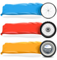 Wheels with Banner Set 2 vector image