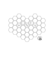 Honeycomb set in shape of heartBee insect animal vector image