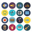 sixteen universal flat music icons vector image