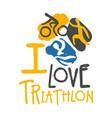 i love triathlon logo colorful hand drawn vector image