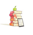 a stack of books on a white background vector image