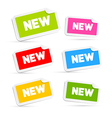 Colorful Stickers with New Title Isolated on White vector image vector image
